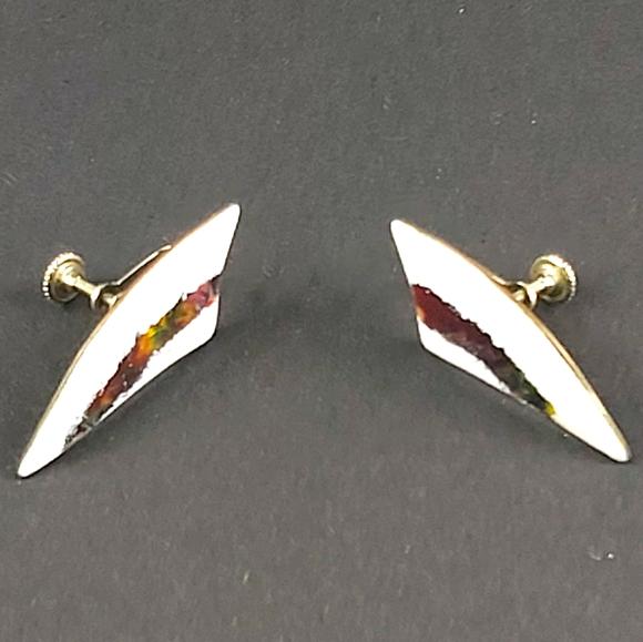 Enamel vintage geometric screwback earrings